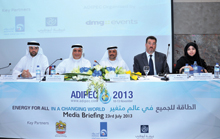 Adipec 2013 speakers at a media gathering in Abu Dhabi
