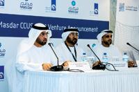 Dr Al Jaber (left), Al Suwaidi and Al Romaithi during the press conference