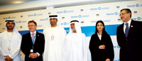 Dr Al Jaber (third from left) and Dr Sommariva (second from left)announce a pilot programme