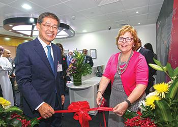 Barbara Leaf, US Ambassador to the UAE, and Shin opening the new CEC in Abu Dhabi