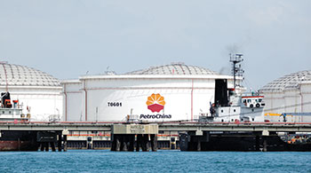 PetroChina storage tanks stand on Jurong Island in Singapore