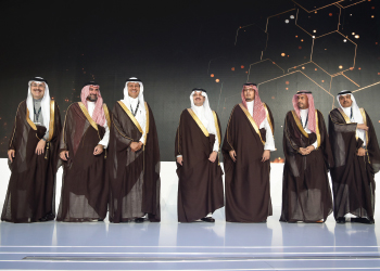 Prince Abdulaziz, Prince Saud, and Prince Ahmed with other top officials at the IKTVA Forum