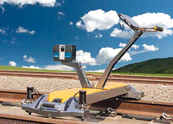 A Faro scanner mounted on a surveying trolley